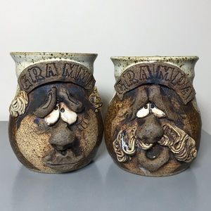 Vintage pottery 3D handmade coffee mugs cups